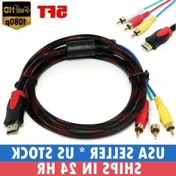 1080p HDMI Male S-video to 3 RCA AV Audio Cable Cord Adapter