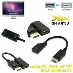 4K Display Port DP To HDMI Female Cable Adapter Converter Di
