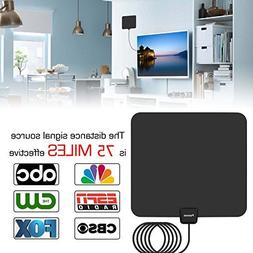 Antenna,Pacoso 75 Mile Range Amplified TV Antenna with Detac