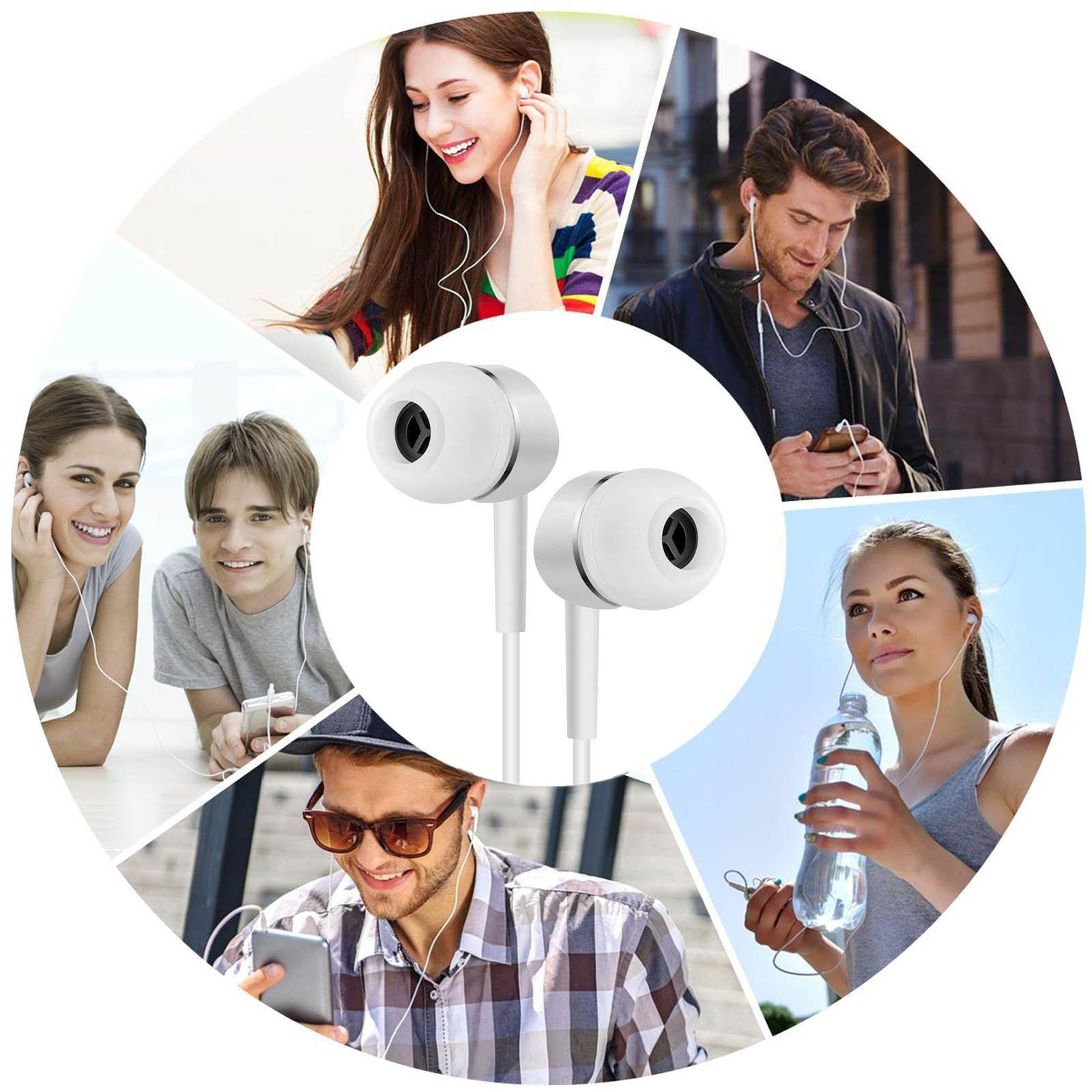 2pcs Genuine Handsfree Wired Headphones with Mic-White