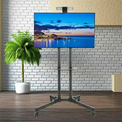 """32-70"""" Rolling Mobile TV Cart Stand Screens Adjustable +15"""