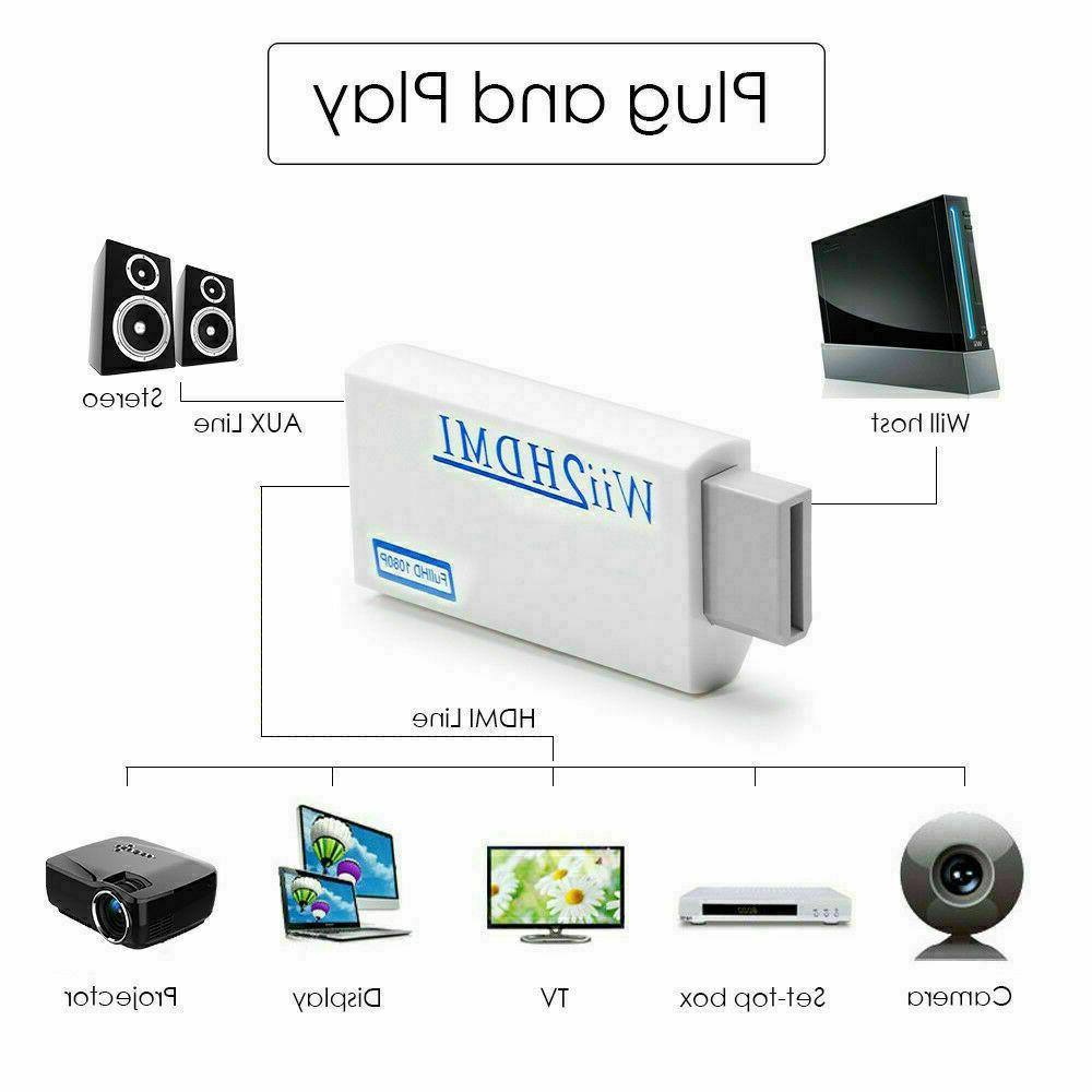 Portable Wii to HDMI Wii2HDMI Full Converter Audio/Video