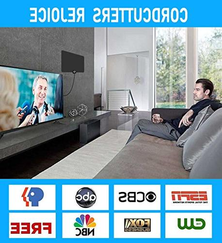 HD TV Antenna Updated Newest HDTV Digital 1080P Antennas Free Channels, Long Coax.