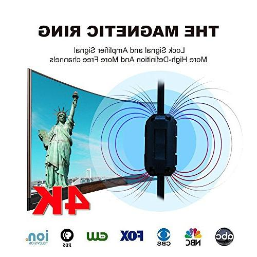 HD TV ANTENNA Updated 2018 Digital 4K/1080P Magnetic Ring Signal More channels,