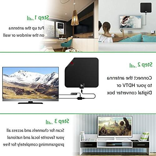HD TV ANTENNA INDOOR,GIAYOUNEER Updated HDTV Digital Magnetic Ring Signal and Booster, More channels, enough