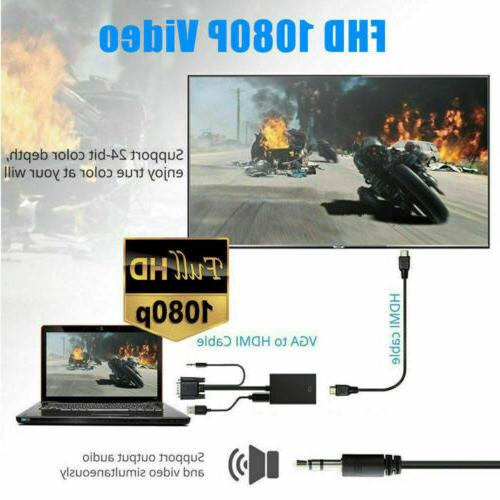 VGA HDMI 1080P Adapter Audio Cable For