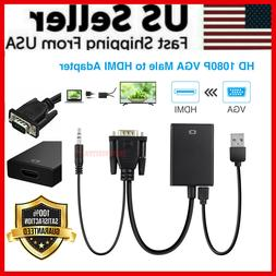 VGA To HDMI Converter 1080P HD Adapter With Audio Cable For